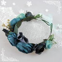 花かんむり 花冠 ブルー フェス ウェディング ブライダル ...