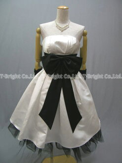 Custom party dress is cute ★-length short ★ ( white x black ) 51328