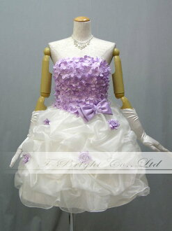 ♪ is fully pretty a size order floret; softly organdy party dress ★ shortstop medium ★ minidress (white X purple )★ 51368)
