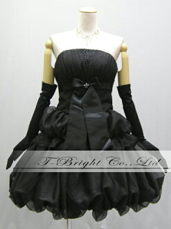 Size order medium length ♪ crape style back laceup party dress ★ minidress ★( black / black) 53136