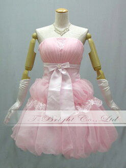 Custom neck Ribbon ♪ crepe style fabric back lace-up dress ★ mini / medium length 53173 ★ (Pink).