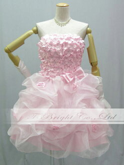 A Cute custom chest flower back lace up dress ★ minidress ★ (Pink) medium short-length prom dress ★ 53235