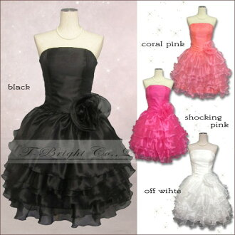 Custom corrugated ruffles ♪ party dress ★ minidress ★ off white / coral pink / hot pink / black ★ 01819-0