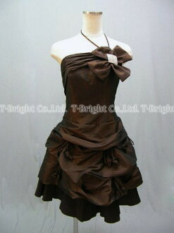Party dress ★ minidress ★ medium length ★( brown) wedding ceremony * size designation * 51515 where size order rhinestone & ribbon corsage ♪ hem pleats are clean