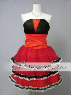 Pleated × frills ★ party dress ★ minidress ★ 7 ★ ( red x white/black ) 30219