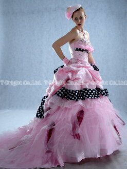 Size order colored racesless ★ princess line ★ (pink X black) size designation ♪ wedding ceremony long dress ★ tb081