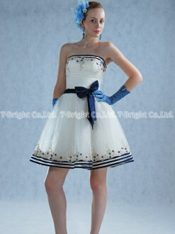 Size order party dress ★ shortstop length ★ (white X navy) wedding ceremony * size designation * tb089