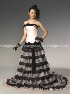 ★ sizes dress ★ A line ★ (pink x black) size ♪ wedding dress ★ tb106