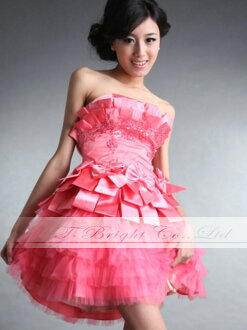 Tb143 custom prom dress ★ medium-length ★ (coral pink)