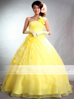Custom flower corsage & tall in lace-up dress with organza ★ Princess ★ (yellow) tb197.