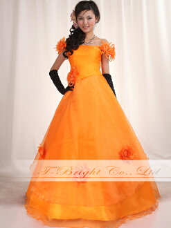 Order size off shoulder ★ organdy dress ★ A line ★ (orange) tb308
