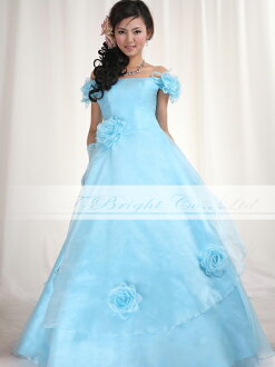 Size order off shoulder ★ organdy colored racesless ★ A-line ★( light blue) tb309