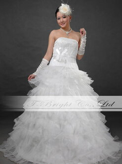 Size order beads embroidery: Step frill wedding dress ★ princess line ★ white: tb333