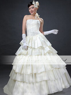 Wedding dress ★ princess line ★ embroidery ★ 9 ★ (off-white )ys53610) where a wedding dress step frill is cute