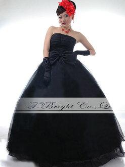 Sizes waist Ribbon ♪ organdy dress ★ Princess line (black) tb367