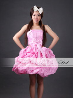 Party dress ★ shortstop length / medium length ★( pink X check) tb393 with the size order ribbon