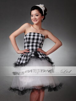 Custom skirt tulle! check party dress ★ short-/ medium-length ★ ( black x check ) wedding * specified * tb450 size