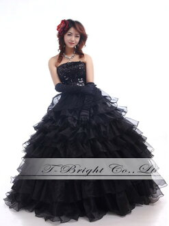 Colored racesless size order chest spangles ★ ティアードフリルドレス ★ princess line ★( black )tb464