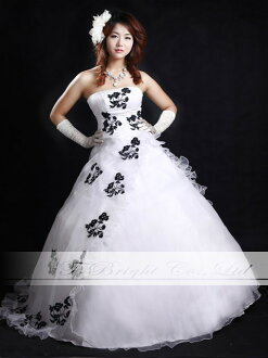 Dress size order floral embroidery accents ♪ organdy dress ★ A ★ line ( white x black) tb465