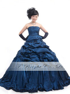 Custom dress wedding Navy back Ribbon dress with ruched ★ Princess ★ (blue) tb470