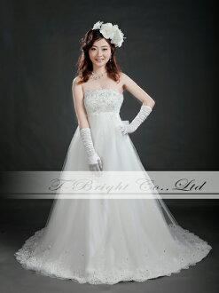 Wedding dress size order back Ribbon embroidered wedding dress ★ Empire line ★ wedding ceremony, wedding reception, wedding, Bridal, dress ★ tb528