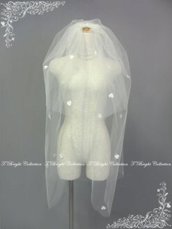 Wedding Veil with Pearl Ribbon double veil ★ comb ( comb ) ★ medium bale ★ off-white (v143)
