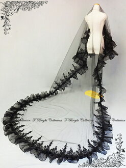 ◆ Bridal Fair*20 % Off ◆ ■ long Maria veil 4m ■ black (v145-4m) with fair floral design embroidery