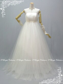 Fluffy tulle ♪ Pearl embroidery the pretty エンパイアウェディング dress ★ Empire line ★ (off-white) 51385 Weddings: Bridal costumes: long dress
