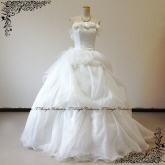 30225 FK wedding dress gloves presents popular Princess line flower オーガンジーウェディング dresses ★-7 ~ 9 ★ (off white)