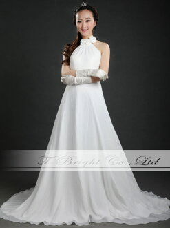 Year end sale! West clear beads: flower corsage-Halter neck wedding dress ★ line ★ off-white ★ 5 ~ 7 ★ long dress ★ 30148
