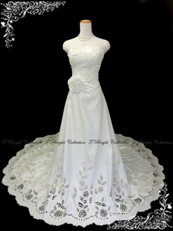 Wedding dress ★ A-line ★ long train ★ 9 ★ (off-white )ys52458) which a wedding dress cut lace has a cute
