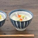 土物の茶碗(大)藍十草)和食器/貫入/お茶碗/ご飯茶碗/ボウル/夫婦茶碗