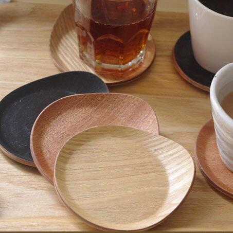 木製 耳付きコースター(しずく)   コースター/木製コースター/木のコースター/キッチン雑貨/トレー/カップトレイ/茶たく/茶托