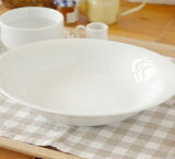 ホワイト オーバルベーカー (9inc)    パスタ皿/白い食器/カレー皿/楕鉢/ボウル/ポーセラーツ