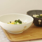 水玉 麺鉢 大 (ドットモノトーンシリーズ) (アウトレット込み)      和食器/さぬき丼ぶり/大ボウル/めん鉢/大鉢/どんぶり