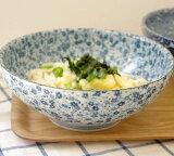 (藍染小花)麺鉢 大 (アウトレット込み)   和食器/さぬき丼ぶり/大ボウル/めん鉢/大鉢/どんぶり