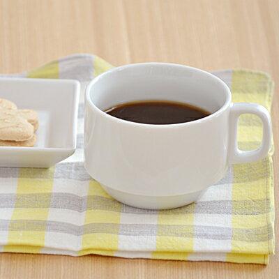 スタック コーヒーカップ (ホワイト)   白いコーヒーカップ/シンプルコーヒーカップ/カップ/マグ/兼用カップ/業務用/ポーセリンアート