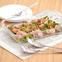 ガラス 耳付きプラター(30cm)   強化ガラス/角皿/大皿/パーティー食器/ガラス食器/調理器具