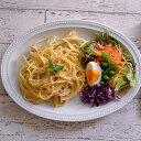 ドット オーバルプレート 27cm マットミルク  パスタ皿/中皿/楕円皿/お皿/サラダ皿/和食器/カフェ食器