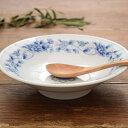 藍黄二色 花柄 中華丸高台皿 21cm 盛鉢/セール/中華丼/天津丼