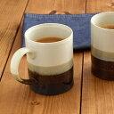 マグカップ テシゴト 350cc 陶器製 4色掛分けホワイト/ブルー 和食器/マグ/コーヒーカップ/和風マグ/マグ おしゃれ