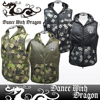 Dance with dragon / dance with dragon /DWD/ best down vest reversible scull camouflage pattern double zip DANCE WITH DRAGON dance with dragon golf wear fs3gm