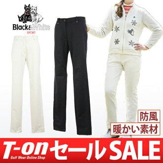 黑與白/黑 & 白/褲子長褲子防風褲子拉伸回刷簡單設計標誌繡有黑色與白色黑色與白色 golfwear