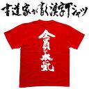 ショッピングおもしろtシャツ 【全員が本気(縦書)】書道家が書く漢字Tシャツ おもしろTシャツ 本物の筆文字を使用したオリジナルプリントTシャツ書道家が書いた文字を和柄漢字Tシャツにしました☆今ならオリジナルTシャツ2枚以上で【送料無料】☆ 名入れ 誕生日プレゼント 【楽ギフ_名入れ】 pt1 ..