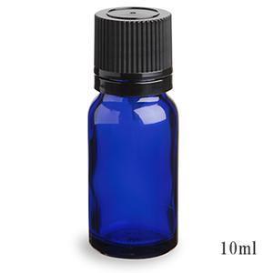 スタンダードタイプ遮光瓶(ブルー)黒キャップ10ml 10本セット 10%割引バルク販売(ドロッパー付きセイフティーキャップ)
