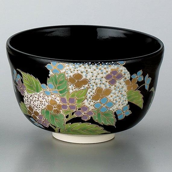 【茶道具/ 茶碗】黒仁清 紫陽花の商品画像