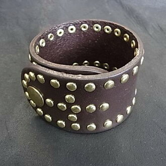 Leather wristband real leather bracelet with studs