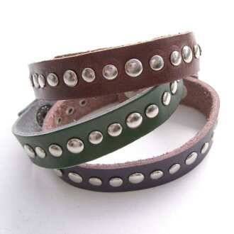 Leather wristband leather bracelet with studs