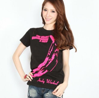 Velvet Underground & Nico BALCK Lady's lock T-shirt
