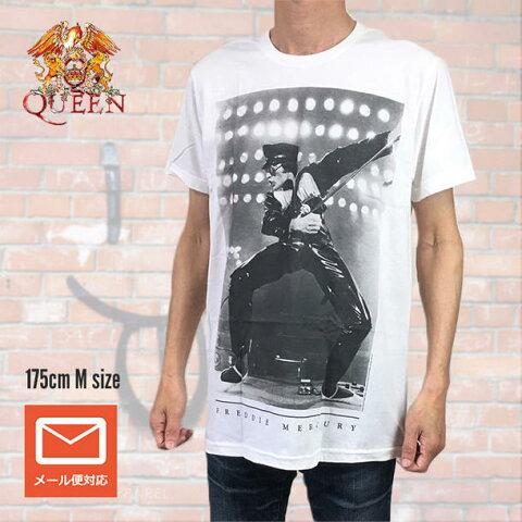 ロックTシャツ バンドTシャツ QUEEN クィーン FREDDIE MERCURY Tシャツ ライヴ フレディ・マーキュリー ボヘミアン・ラプソディ フォトTシャツ バンドT ホワイト S M Tシャツ